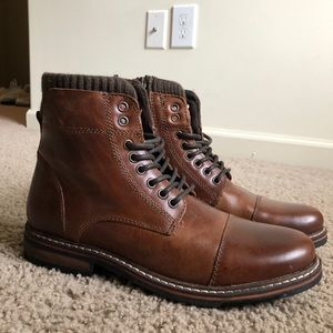 Men's Leather Boots with Zipper